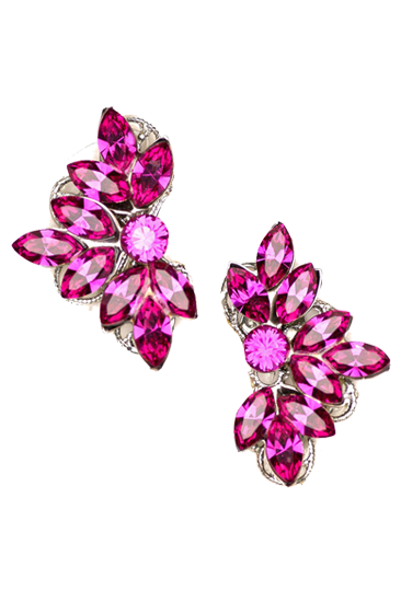 Picture of Leaf Motif Studs in Fuchsia
