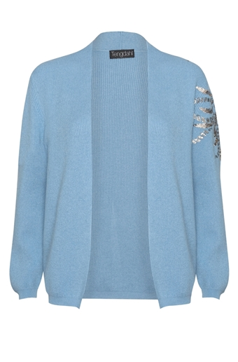 Picture of Embellished Cashmere Cardigan Sky