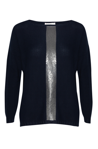 Picture of Boat Neck Knit Top Navy