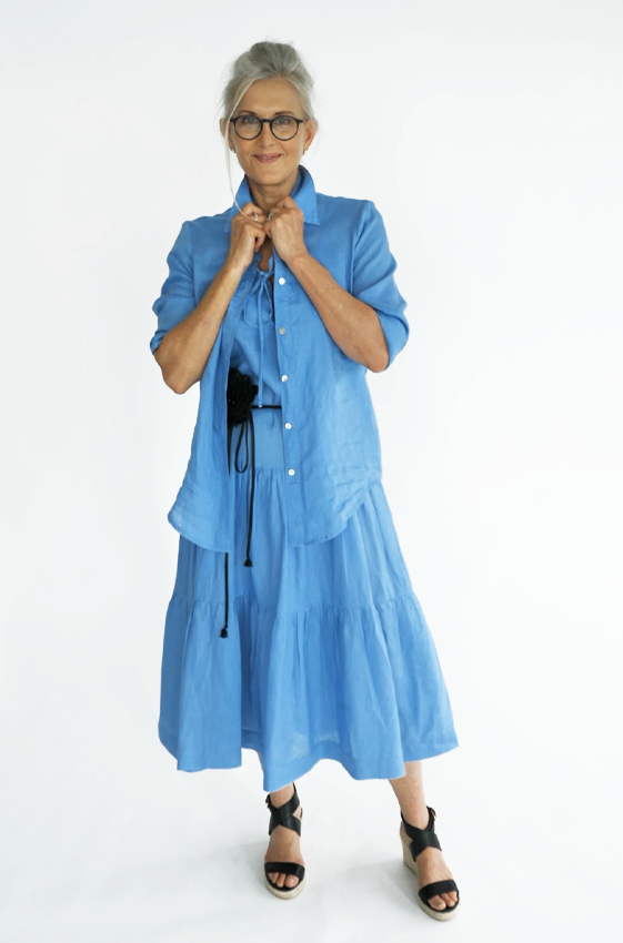 Picture of Adele Linen Shirt Sky Blue