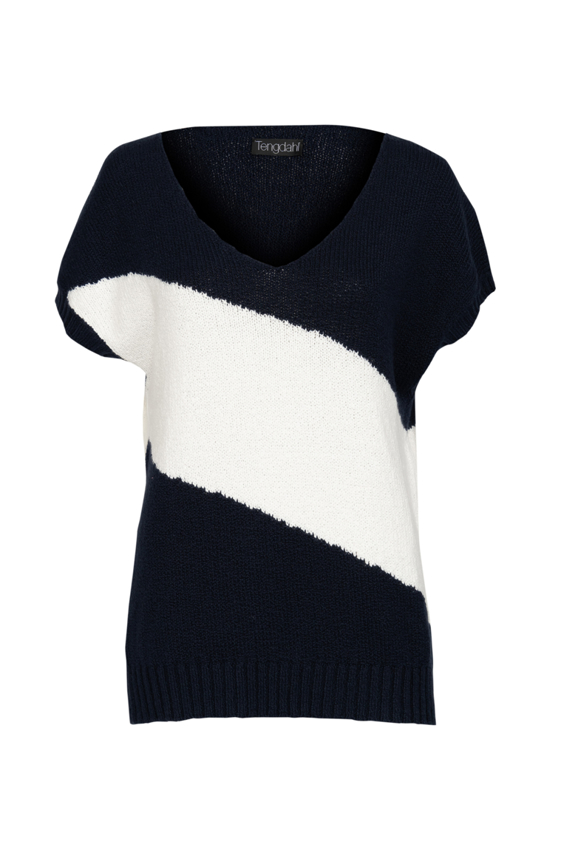 Picture of Crew Neck Sweater Navy and White