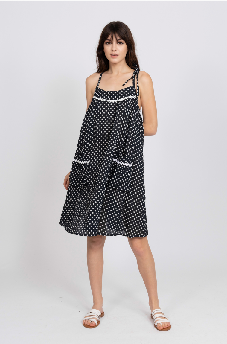 Picture of Freya Dress Navy Spot